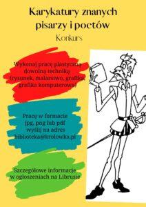 plakat karykatura pisarza